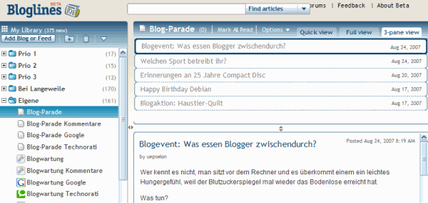 Bloglines 3-Pane View