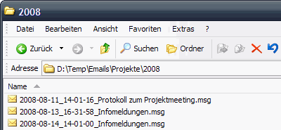 Outlook-Emails ablegen